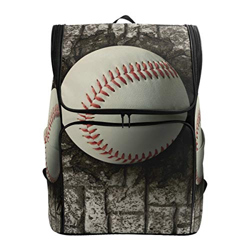 663 Baseball - Backpack Shoulder Baseball Embedded In Brick Wall Travel School Bag Daypack Rucksack