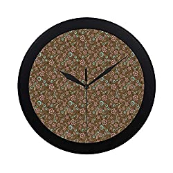 C COABALLA Brown and Blue Circular Plastic Wall Clock,Floral Pattern with Swirls Circles Abstract Leaf Designs Retro for Home,9.65 D