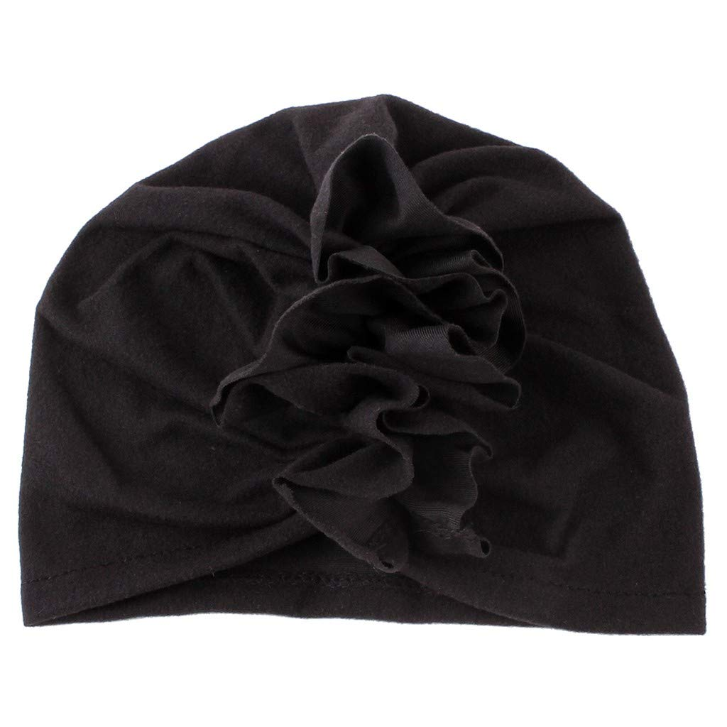 Girls Boys Soft Coton Head Wrap Hat Cute Fashion Ruched Hats Black
