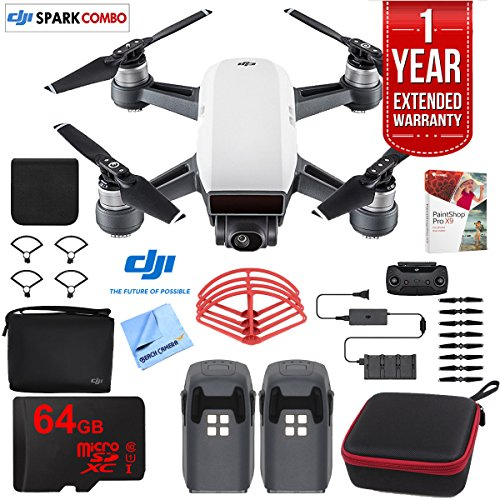 DJI SPARK Fly More Drone Combo (Alpine White) With Custom Hard Case, 64GB High Speed Card, Corel PaintShop Pro X9, High Visibility Pro Guards, Cleaning Cloth, and One Year Warranty Extension