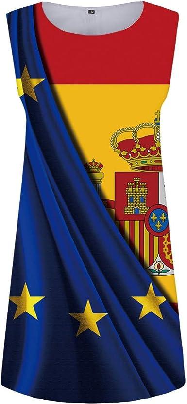 GYYWAN Vestido De La Bandera Española Mujeres Star Vestido ...