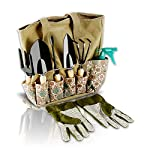 Scuddles园艺工具套装- 8件重型园艺工具,存储组织者,符合人体工程学的手挖除草机,耙,铲子,泥铲,喷射器,手套送给男人和女人礼物