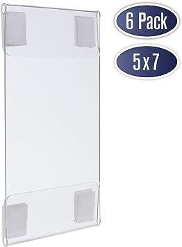 Amazon.com: Soporte de pared acrílico para carteles, 5 x 7 ...