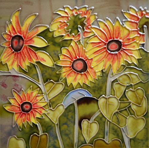 (Tile Craft Sunflower Hand Painted Ceramic Art Tile 6 x 6 inches with Easel Back)