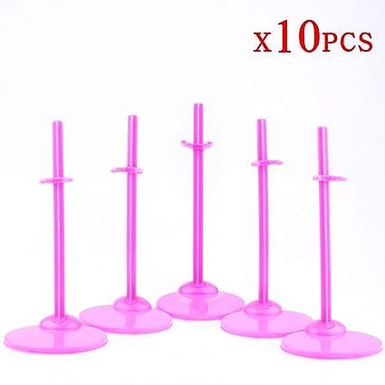 10 Pcs Doll Stands Display Holder For Barbie Dolls Pink Model Support Frame Prop