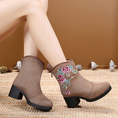 GTVERNH-El otoño y el invierno del viejo Pekín botas y botas de tela de algodón gruesa estilo folk con bordado retro botas botas botas de herradura Gray