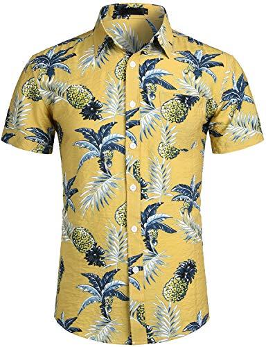 ZEROYAA Men's Summer Banana Pineapple Printed Beach Shirt Slim Fit Hawaiian Shirts with Pocket Mustard Banana Pineapple ()