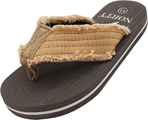 NORTY - Boy's Thong Flip Flop Sandal, Tan, Grey (Canvas Thongs)