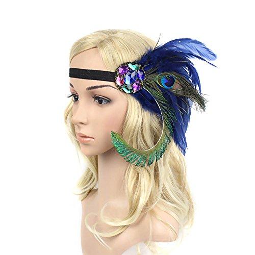 Mardi Gras Feather Headpiece (ACTLATI Fashion Crystal Peacock Feather Headband Fascinator Rhinestones Hair Band Cocktail Party Girls Women, Royal Blue, One Size)