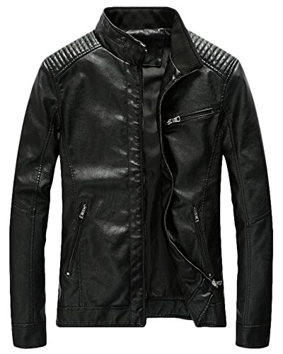 Youhan Men's Casual Zip Up Slim Bomber Faux Leather Jacket (Large, Black)