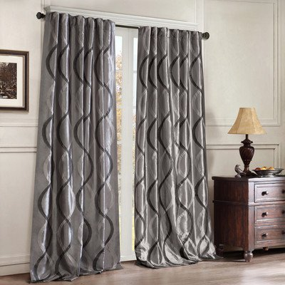 Madison Park Tan Room Darkening Curtains For Bedroom, Transitional Rod Pocket Curtains For Living Room, Serendipity Embroidered Back Tab Window Curtains, 50X95, 1-Panel (Taffeta Embroidered Rod Pocket Curtain)