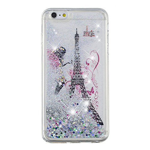 (for iPhone 5 5S Case with Screen Protector,iPhone SE Bling Girly Case for Women,Aearl Cute Glitter Liquid Case Shiny Flowing Floating Clear Soft Silicone Protective Back Cover for Apple iPhone 5S 5)