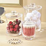STORi Premium Quality Plastic Apothecary Jars | Set of 3 Clear