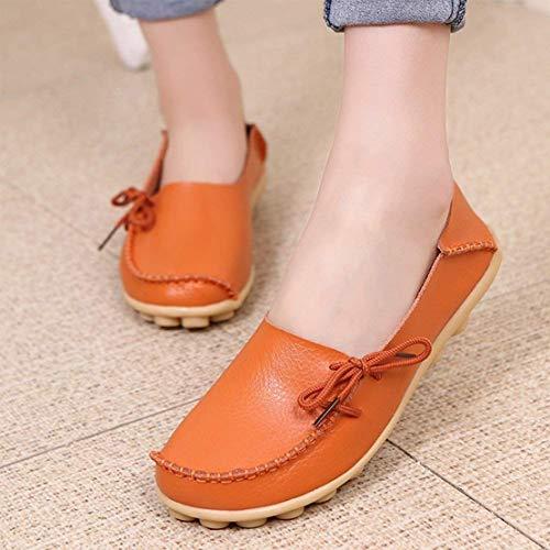 Femmes En Slip Cuir On Flats De Mocassins Conduite Orange Chaussures Décontractées U5rqwIr
