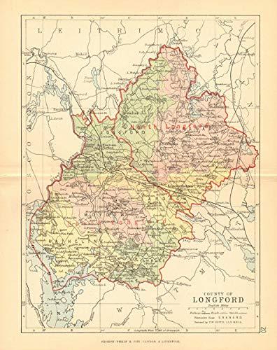 Map Of Ireland Longford.Amazon Com County Longford Antique County Map Leinster Ireland