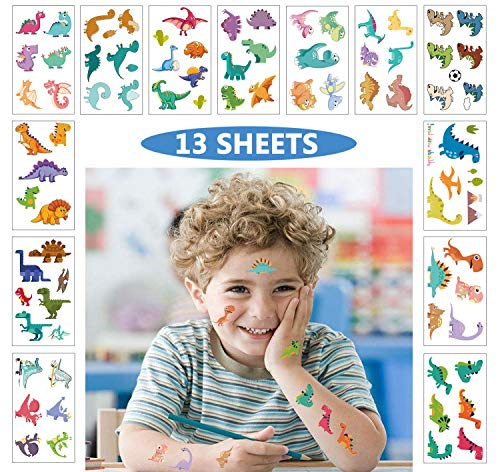 Dinosaur Temporary Tattoos for Kids Cute Waterproof Stickers Cartoon Dino Party Favors Accessories Goodie Bag Stuffers Fillers for Teachers Students Toddlers Girl Boy Children Birthday Gift 13 Sheets ()