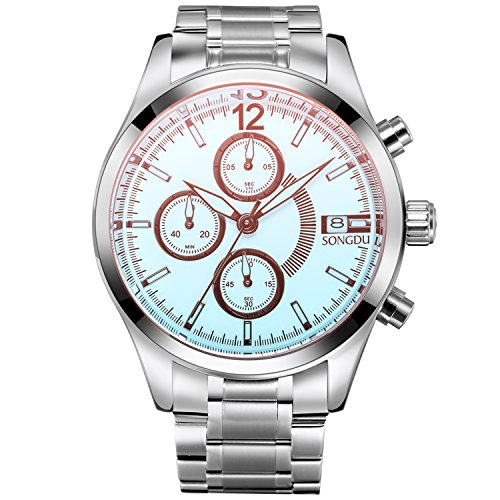 Dial Steel Strap - SONGDU Men's Cool Colourful Mirror Multifunction Chronograph Quartz Analog Date Stainless Steel Strap Wrist Watch (White Dial)
