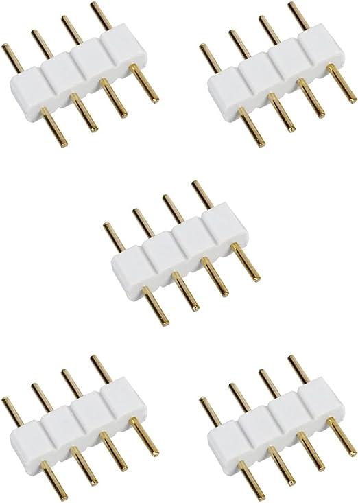Shumo 5 pz Striscia del LED Maschio a Maschio 4 Pin RGB Cavo Connettore Bianco
