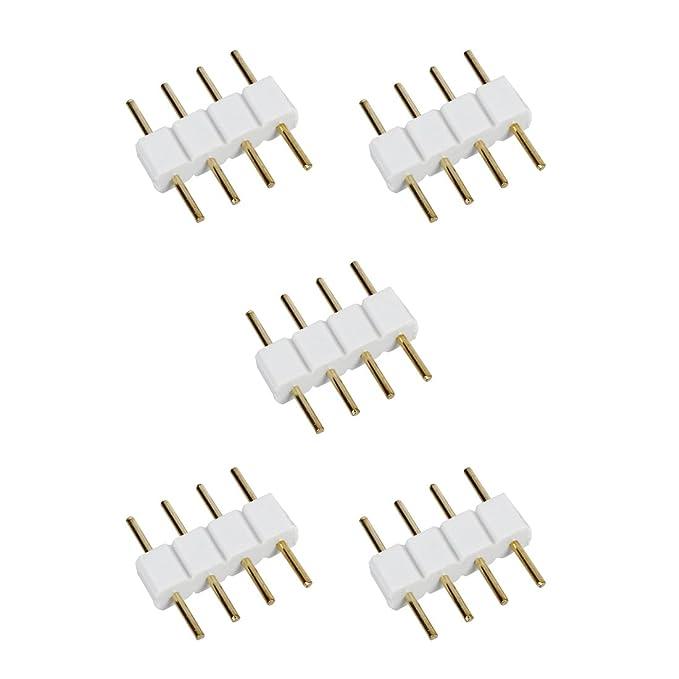 REFURBISHHOUSE 5 St/ück Stecker zu Stecker 4-polig RGB Kabel Steckverbinder f/ür LED Streifen Weiss