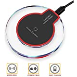 Wewdigi Wireless Charger, Ultra Slim Wireless Charging Pad, Qi Charger Station for iPhone 8/8 Plus / X, Samsung Galaxy S8/S8+/S7/S7 edge/S6 edge/Note 5 Sleep-friendly with Anti-Slip Rubber NO AC Adap