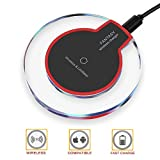 #9: Wireless Charger, Wireless Charging, Wewdigi Ultra Slim Wireless Charger for iPhone X / 8 / 8 Plus, Sleep-friendly with Anti-Slip Rubber NO AC Adapter (Black)