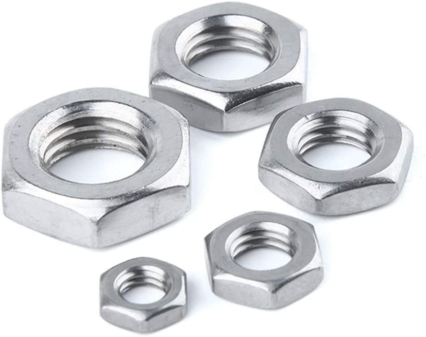 Nuts 25pcs Steel Nut M2.5 M3 M4 M5 M6 M8 M10 M12 M14 M16 304 A2-70 Stainless Steel Flat Hex Hexagon Thin Nut Jam Nut DIN439 GB6172 Size : M2.5 25pcs