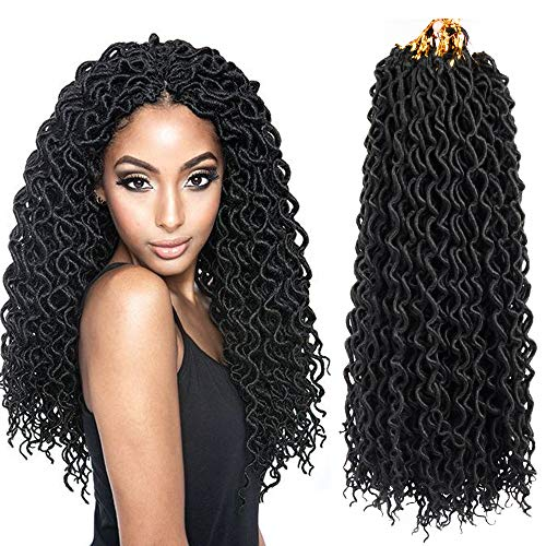 22inch Curly Faux Locs Crochet Hair Goddess Locs Crochet Braiding Hair Braids Mambo Hair Extension 24Roots/Pack (5pack, 1B#) -