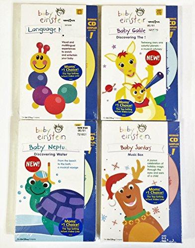 Baby Einstein Set of 4 Vhss+cd: Language Nursery, Baby Galileo, Baby Neptune & Baby Santas Music -