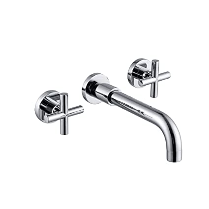 Super Sumerain Wall Mount Bathroom Faucet Cross 2 Handle In Modern Chrome Finish Rough In Valve Included Home Interior And Landscaping Mentranervesignezvosmurscom