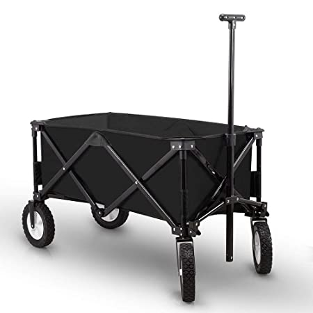 Bellahome Collapsible Folding Wagon Cart Utility Garden Beach Outdoor Sports Heavy Duty Black