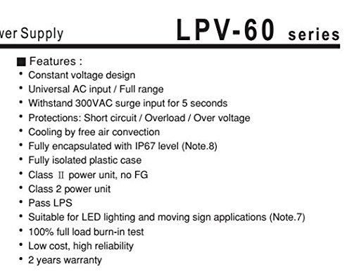 Kingled 12 Cod Mean Well Netzteil Wasserdicht 60 W 12 V IP67 0595 Meanwell Typ LPV kompatibel mit Strip LED Trafo AC 220 V bis DC 12 V