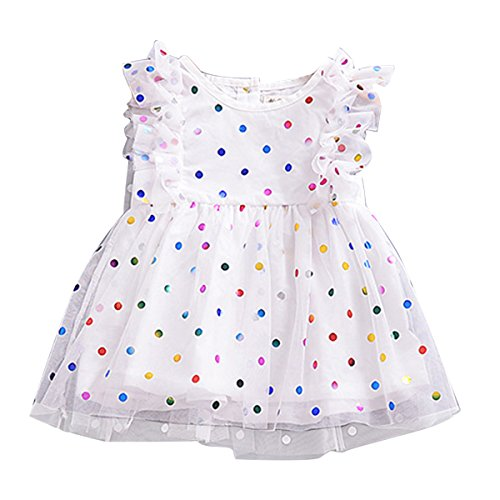 puseky Baby Girls Ruffle Rainbow Polka Dot Dress Princess Mesh Tutu Wedding Party -