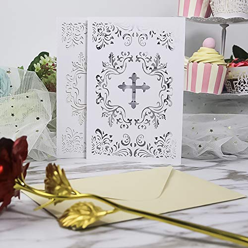 25PCS Elegant Baptism Invitations, Large 4.7 x 7 Cards Fill in Blank Christening Invite,with Ivory Inside Paper for Christening Party Celebration, Religious Ceremony, Christian Dedication (White)