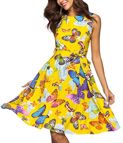 Butterfly Dress - Vogueshop Women's Vintage Sleeveless Midi Dress Print A Line Cocktail Party Tank Dresses (Yellow Butterfly, XL)