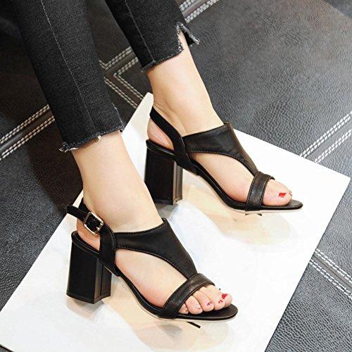 Charm Foot Womens Elegante Open Toe Grosso Tacchi Sandali Neri