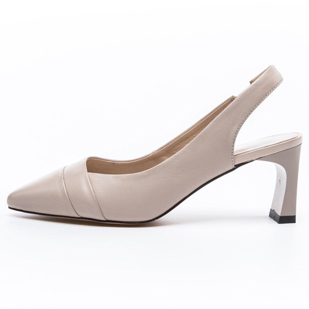 Blanc EU39 UK6 QIDI Sandales Saison D'été Femme Caoutchouc PU Matériaux Talon Haut Chaussures Simples ( Couleur   Blanc , taille   UE36 UK4 )