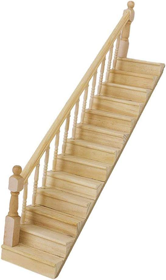 discountstore145 Doll House Accessory,Model Role Play Miniature Size Toy 1/12 Simulation Wooden Stair Stringer Step Staircase with Handrail Furniture Accessory for Dolls House Decor Left