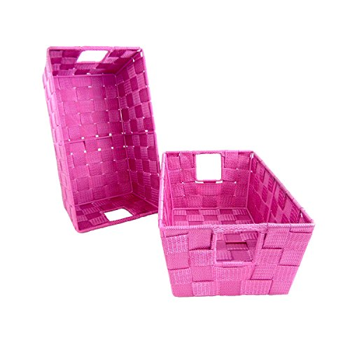 Set of 2 Woven Baskets for Storage - Fabric Strap Shelf Bin for Closets, Bedroom, Playroom (12 x 6.5 x 4.5, Pink - Set of 2)