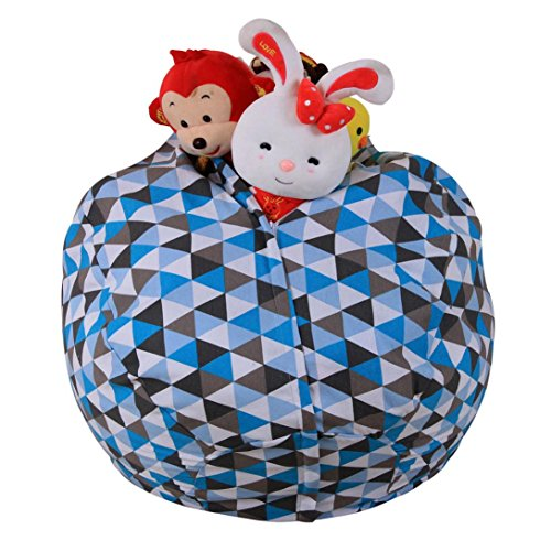 Auwer Stuffed Animal Storage Kid Bean Bag Chair - Plush Toy Storage for your Child's Stuffed Animals and Blankets (C) - Kid May Bean