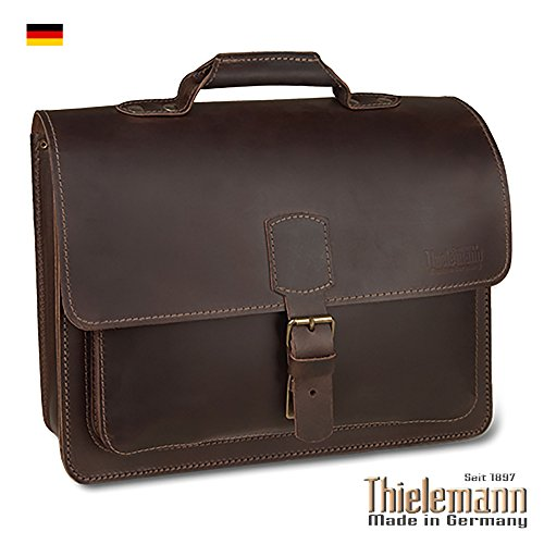 Thielemann Briefcase Messenger Laptop Bag • Brown Full-Grain Leather • Made in Germany • 10 Year Warranty