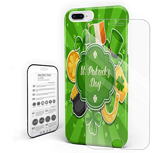 Compatible with iPhone 7 Plus Case and iPhone 8 Plus Case, Hard PC Back Phone Case with Tempered Glass Screen Protector Ireland Flag Hat Shamrock Gold Coin St Patrick's Day Elements Protective Cover -
