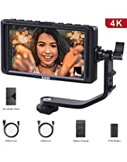 Camera Monitor- ESDDI F5 5 Inch Full HD IPS Screen Camera Field Monitor Support 4K HDMI Input 1920 x 1080 Rechargeable Li-ion Battery USB Battery Charger Included Adjustable for Canon Nikon Camer