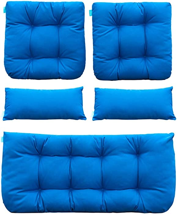 QILLOWAY Outdoor Patio Wicker Seat Cushions Group Loveseat/Two U-Shape/Two Lumbar Pillows for Patio Furniture,Wicker Loveseat,Bench,Porch,Settee of 5 (Blue)