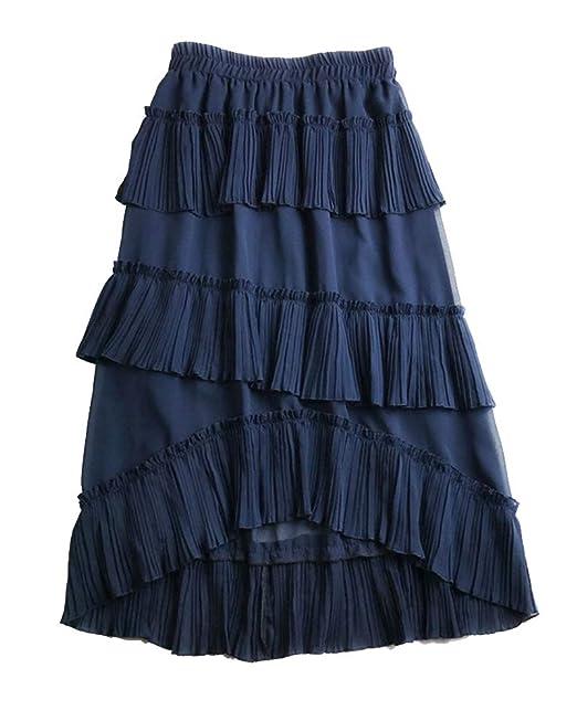 Kasen Mujer Falda Cintura Alta Bandage Maxi Asimétrica Faldas Azul ...
