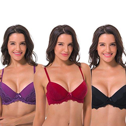 Curve Muse Women's Plus Size Lightly Padded Underwire Balconette Bra -3PK-Black,Grape,Rumba RED-40D