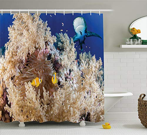 Ambesonne Shark Shower Curtain, Reef with Little Clown Fish and Sharks East Egyptian Red Sea Life Scenery Food Chain, Cloth Fabric Bathroom Decor Set with Hooks, 70