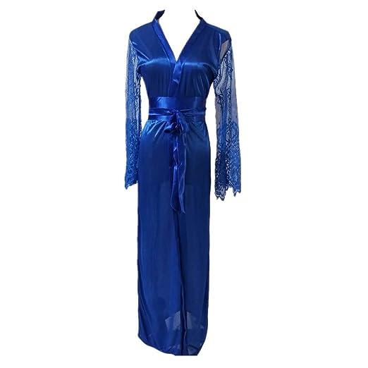d374edb6cd 2019 Plus Size Lingerie for Women Women Satin Long Nightdress Silk Lace Lingerie  Nightgown Sleepwear Sexy