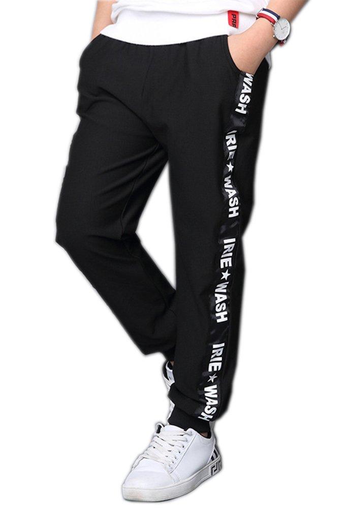Big Boy's Casual Skinny Jogger Pants Autumn Ribbon Kid's Cotton Trousers Black