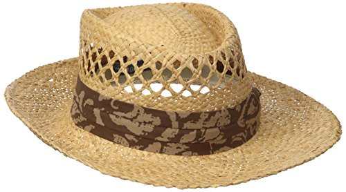 (San Diego Hat Co. Men's Raffia Gambler Hat with Stretch Fit Sweat Band, Natural, One Size)