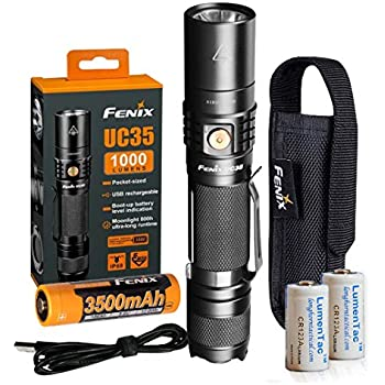 Fenix UC35 V2.0 2018 Upgrade 1000 Lumen Rechargeable Tactical Flashlight 3500mAh Battery and 2X Lumen Tactical CR123A Backup Batteries